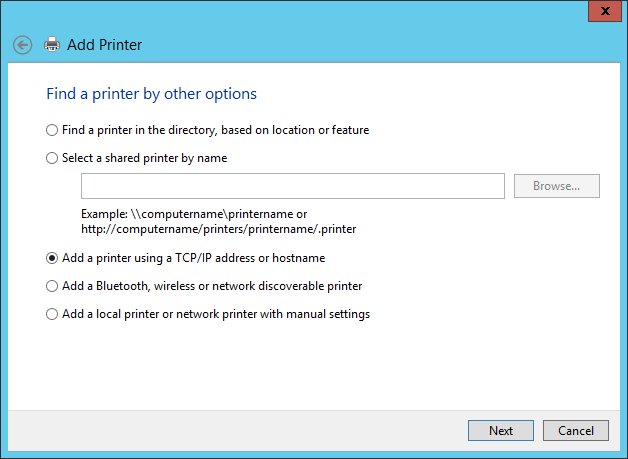 Add a printer using TCP/IP