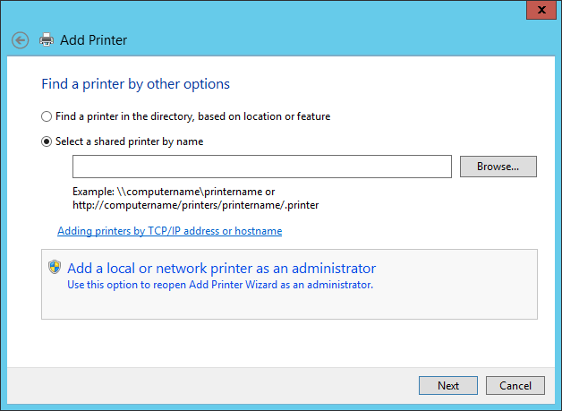 Add a local or network printer as an administrator