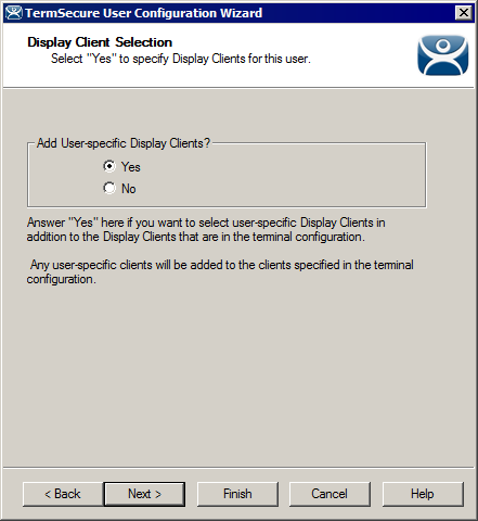 Display Client Selection Page