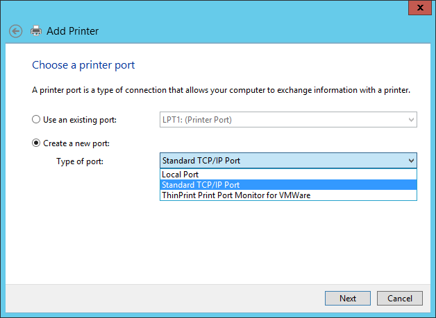 Create a Standard TCP/IP Port