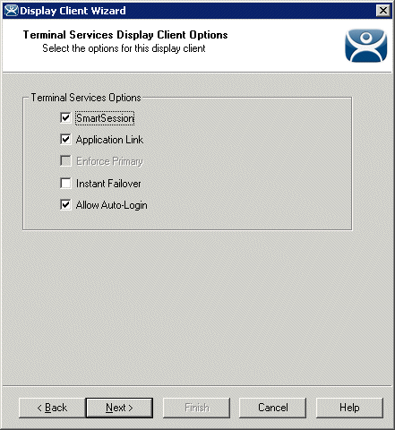 Terminal Services Display Client Wizard – Options