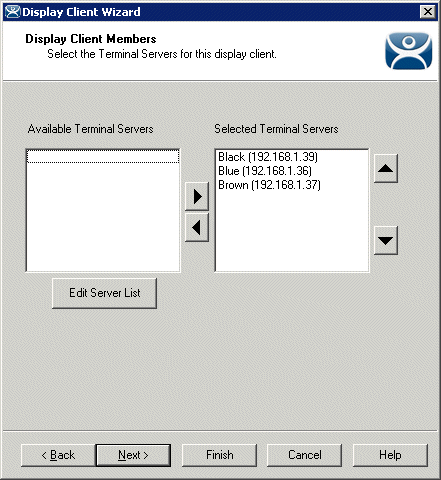 Terminal Services Display Client Wizard – Display Client Members